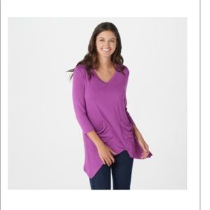 Logo by Lori Goldstein purple tee with pockets